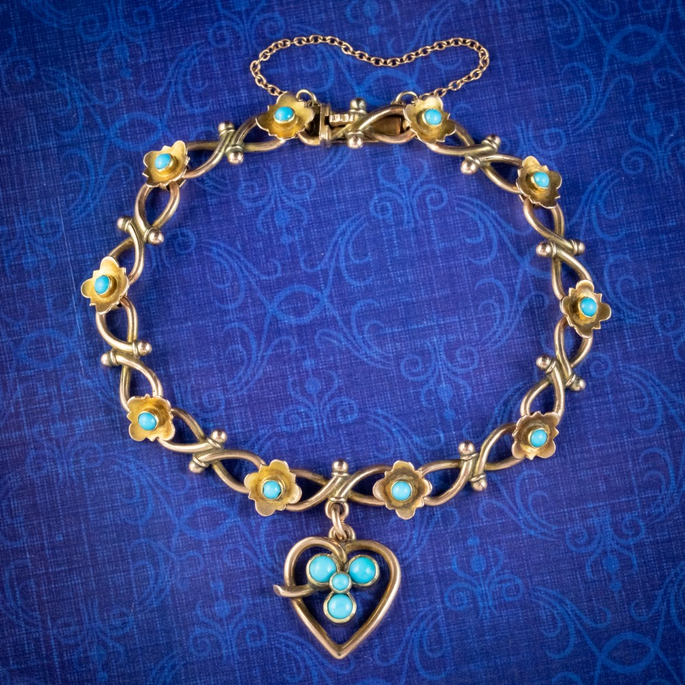 antique victorian turquoise heart forget me not bracelet 9ct gold with box circa 1880