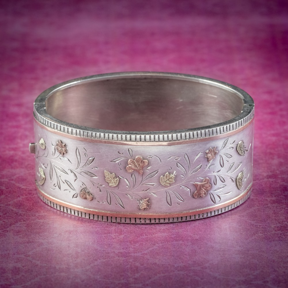 antique victorian floral cuff bangle silver gold circa 1890