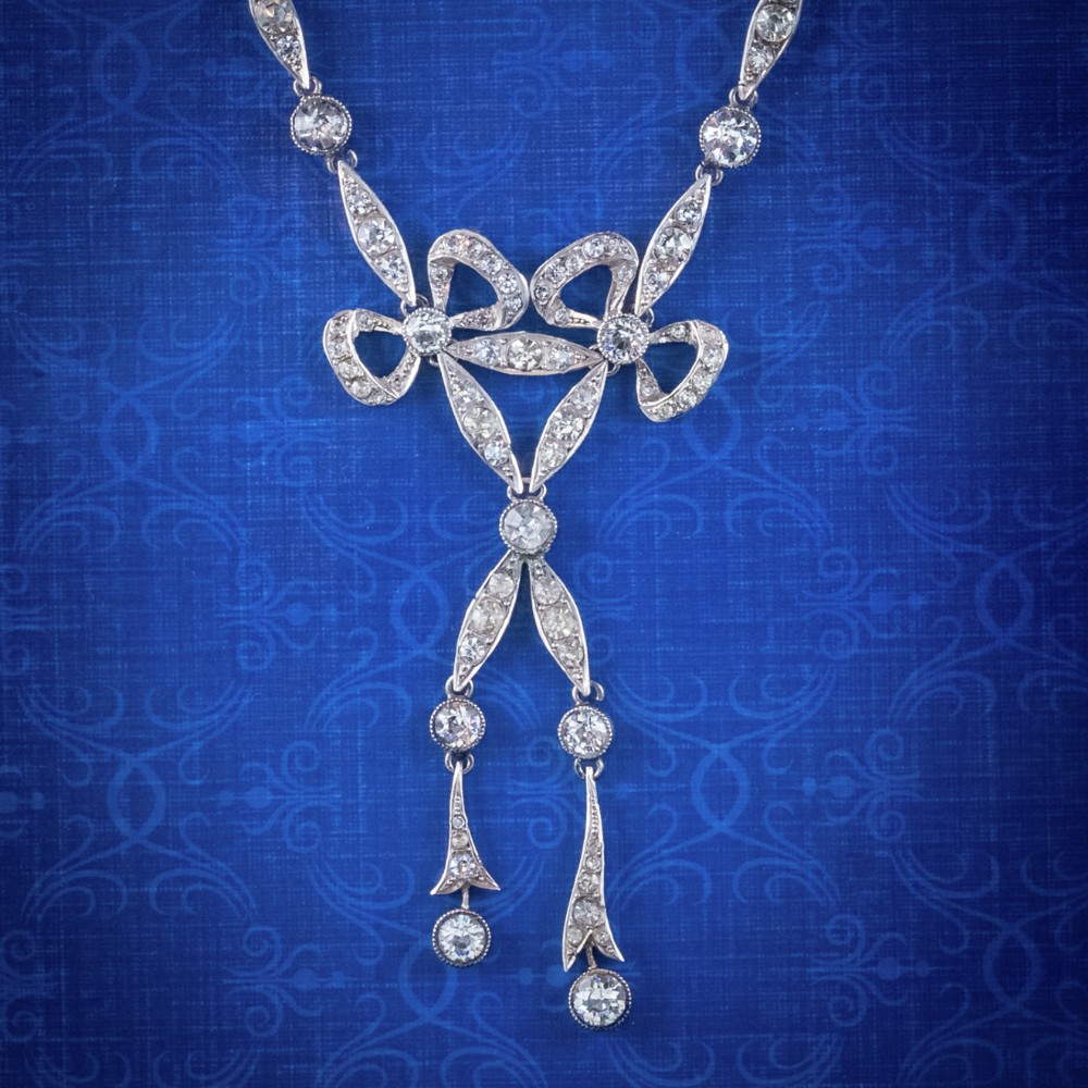antique edwardian paste lavaliere bow necklace silver circa 1905