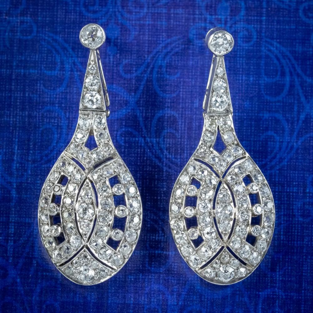 art deco diamond drop earrings 18ct white gold 4ct of diamond circa 1920