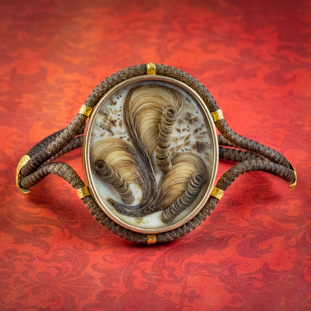 antique georgian mourning hair locket bracelet 18ct gold circa 1820