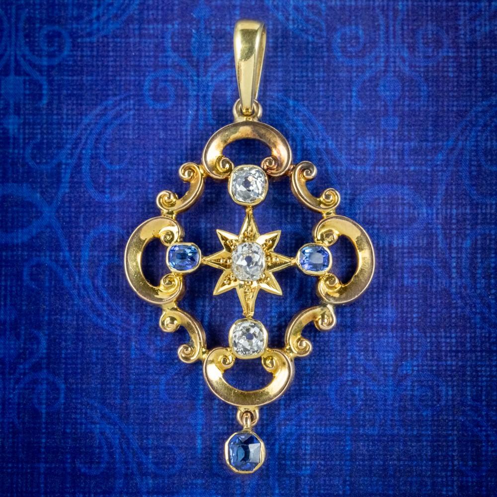 antique victorian diamond sapphire pendant 15ct gold circa 1900