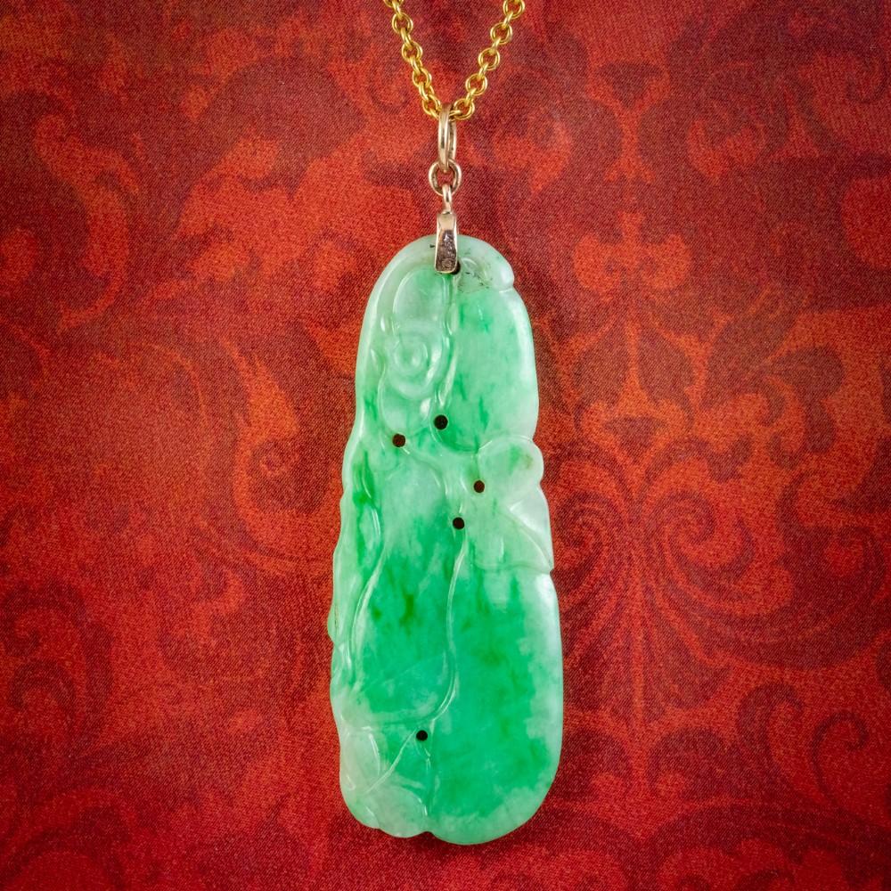 antique victorian jade pendant necklace 18ct gold circa 1900