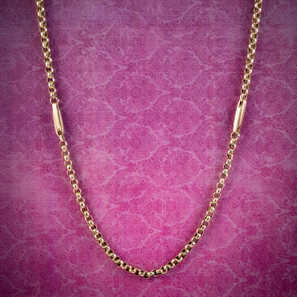 antique victorian chain necklace 9ct gold circa 1900