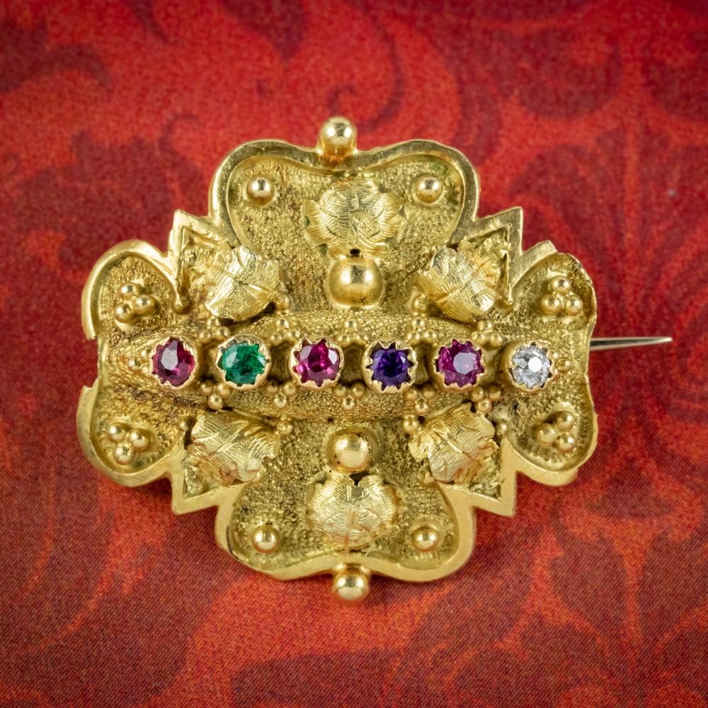 antique victorian regard brooch 18ct gold circa 1880