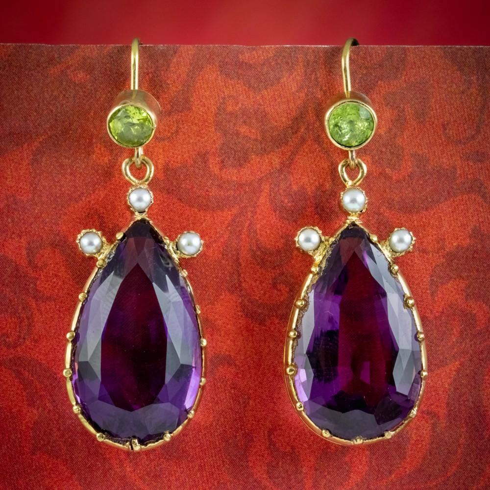 antique edwardian suffragette amethyst peridot pearl earrings 18ct gold circa 1910