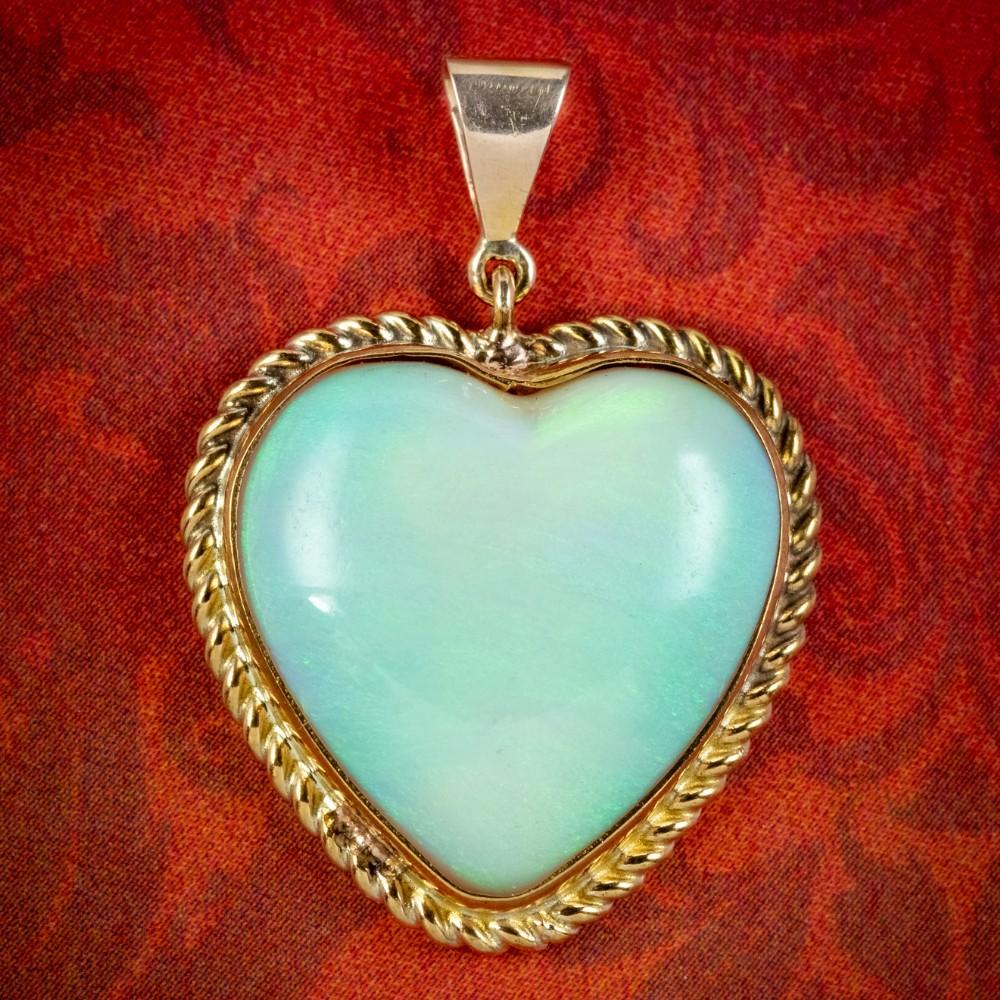 antique victorian opal heart pendant 15ct opal circa 1900