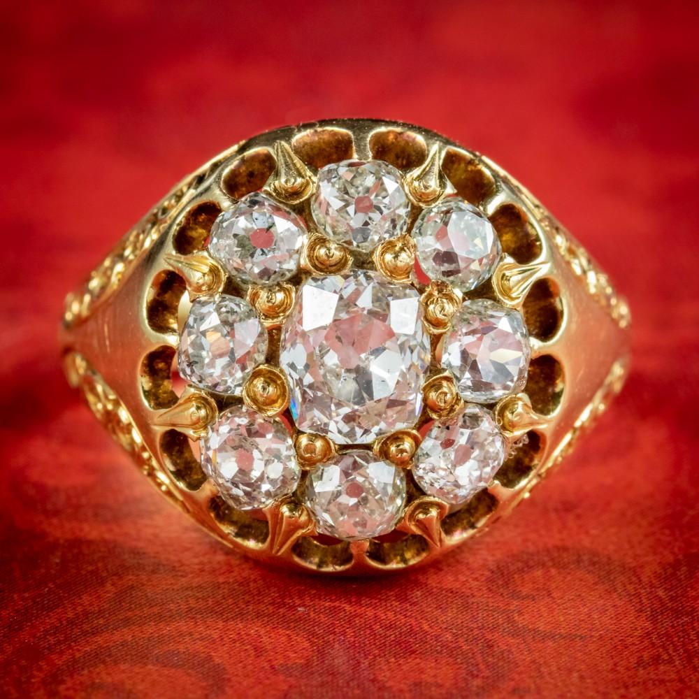 antique victorian diamond cluster ring 160ct of diamond circa 1880 boxed