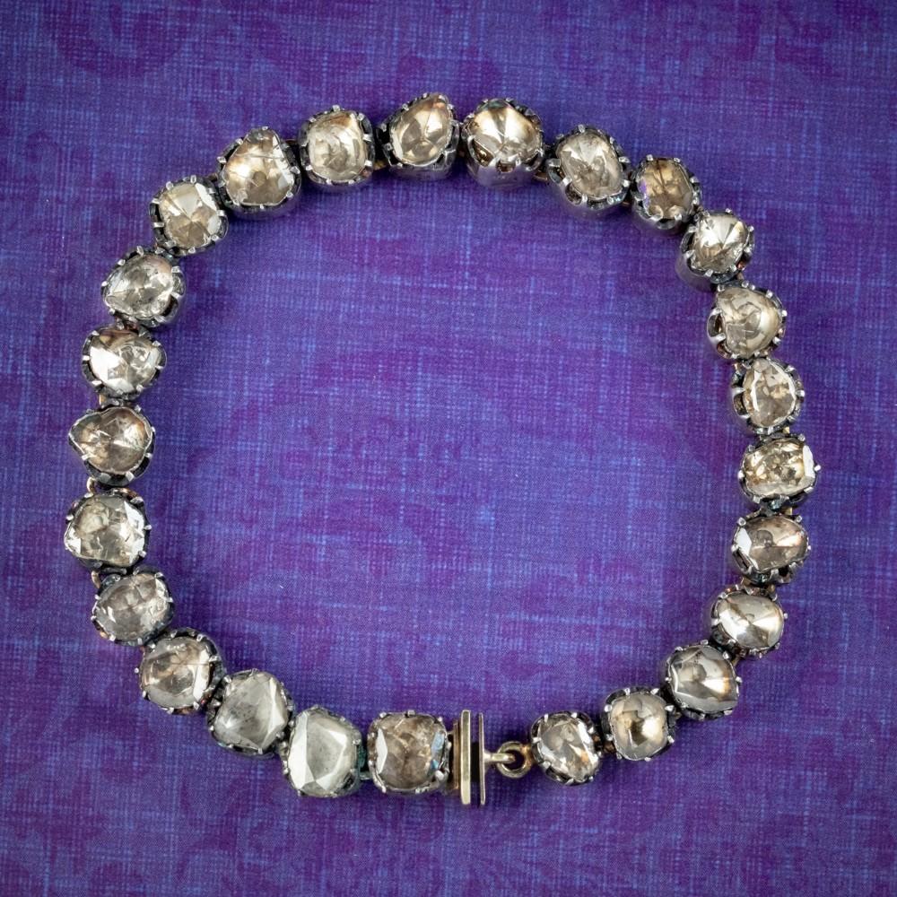 antique georgian french rose cut diamond bracelet silver gold circa 1780