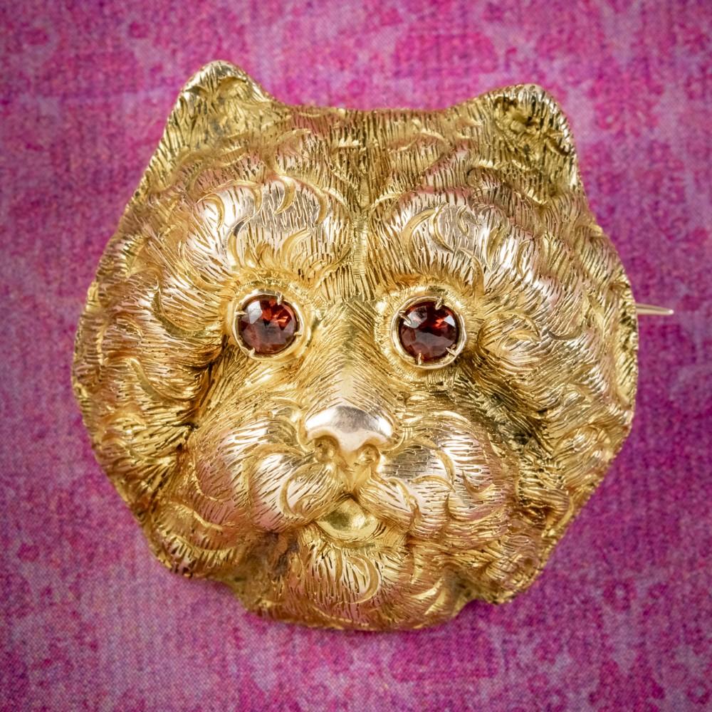 antique victorian french dog brooch garnet eyes 18ct gold circa 1880