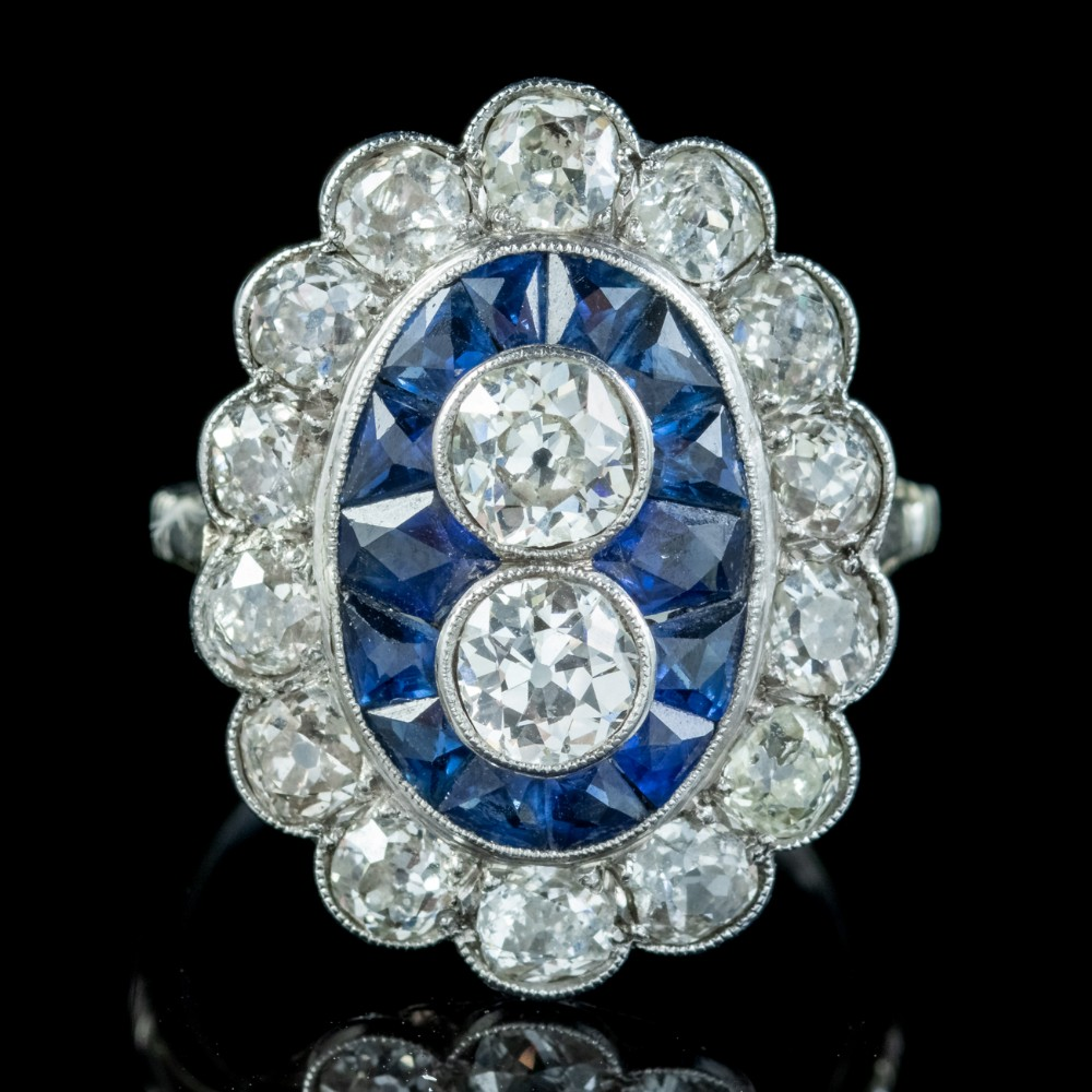 art deco french sapphire diamond ring 320ct of diamond circa 1920 boxed