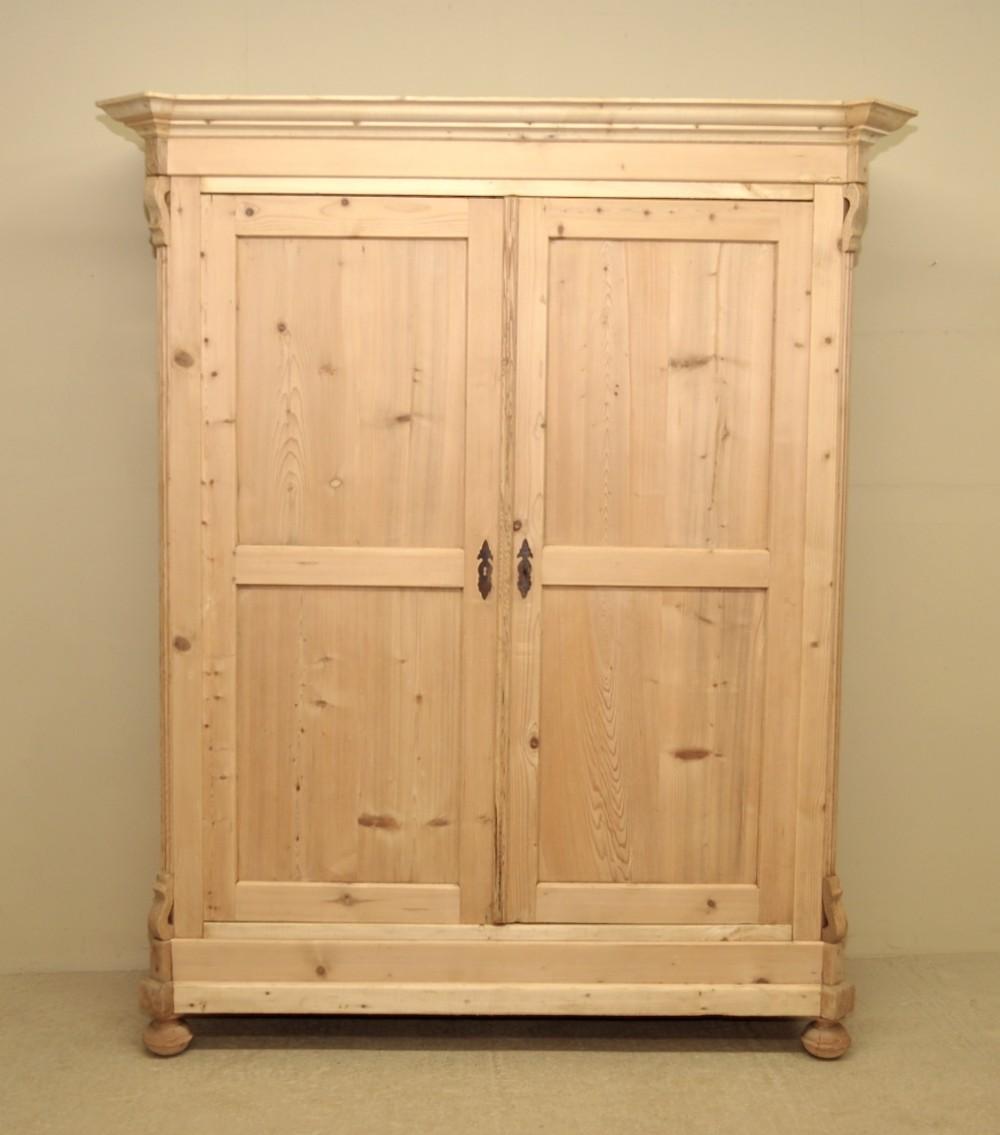Large Antique Pine Double Wardrobe 249323