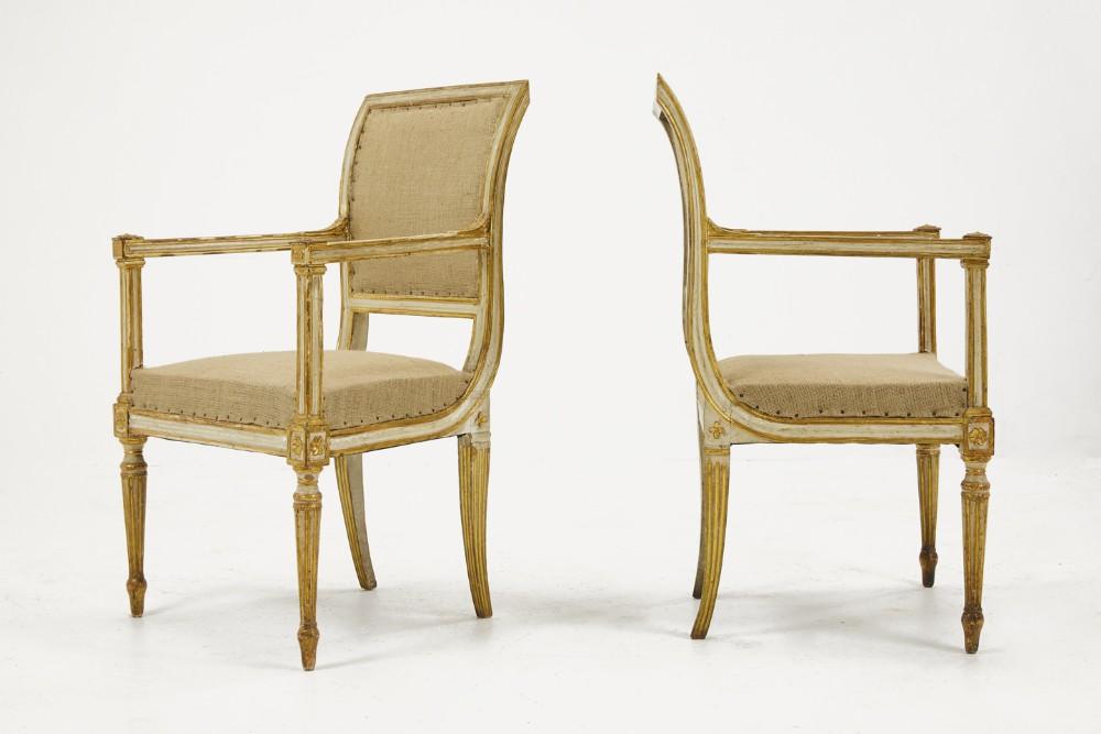 pair of 18th century italian painted gilt armchairs