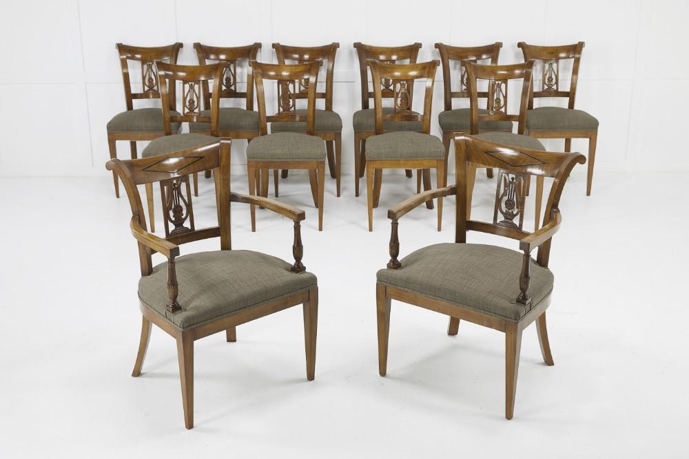 set of twelve 19th century austrian cherry wood dining chairs