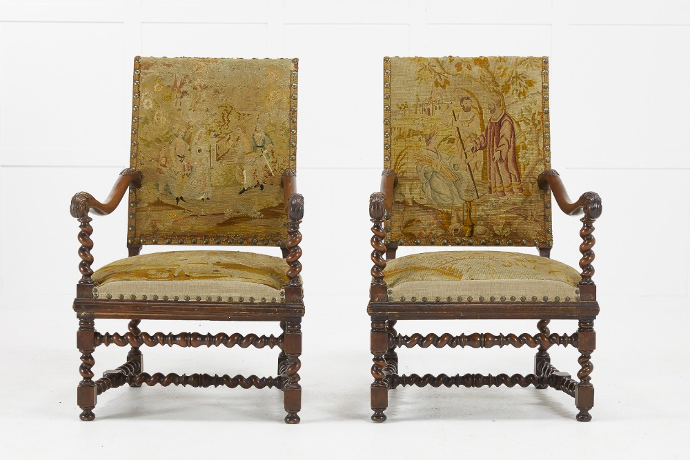 pair of 19th century french carved walnut tapestry chairs