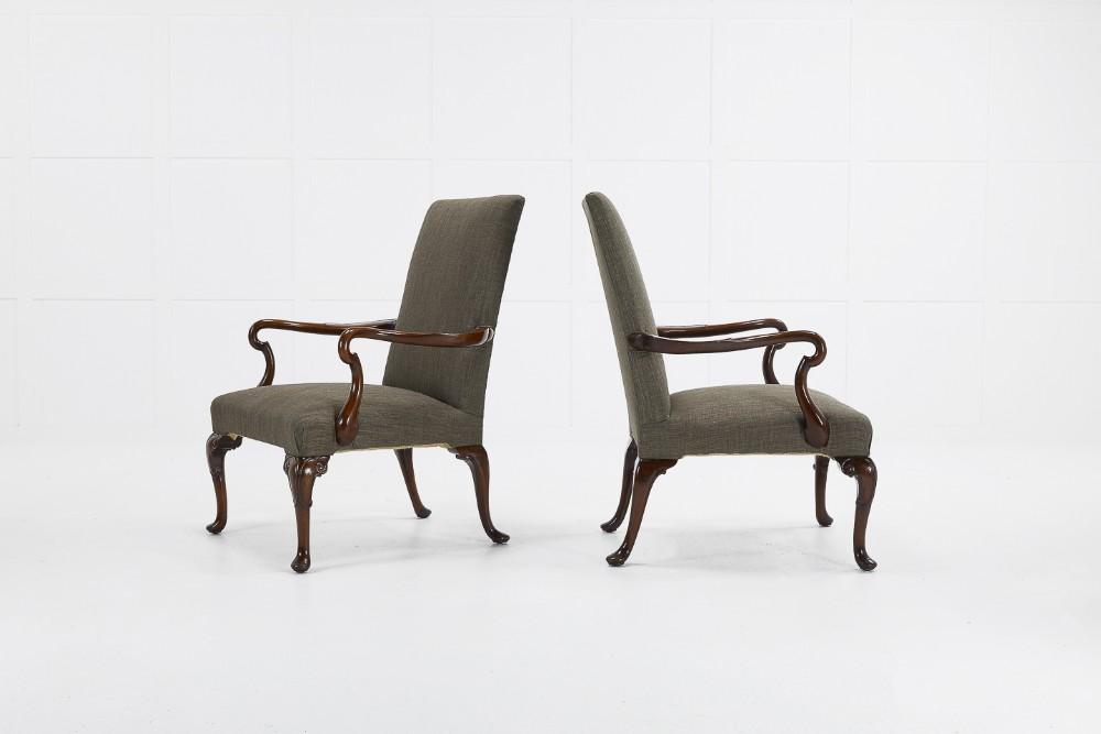 pair of 1930's english walnut armchairs