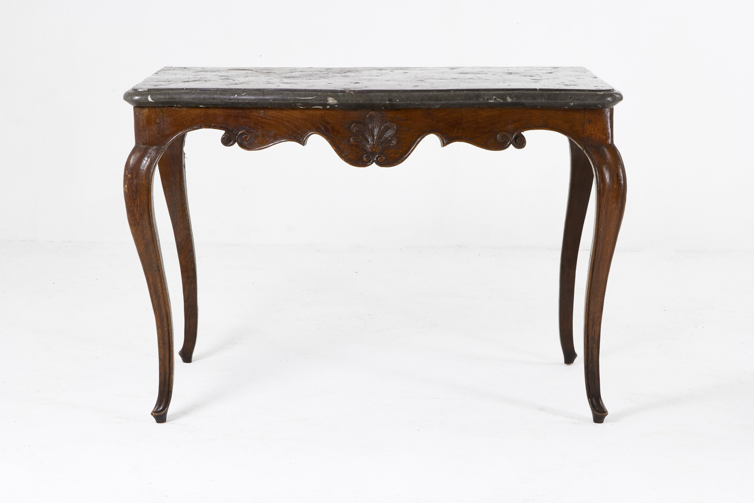 18th century french fossil marble top carved oak console table