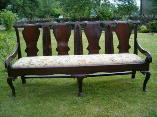 18th c oak chair back settee