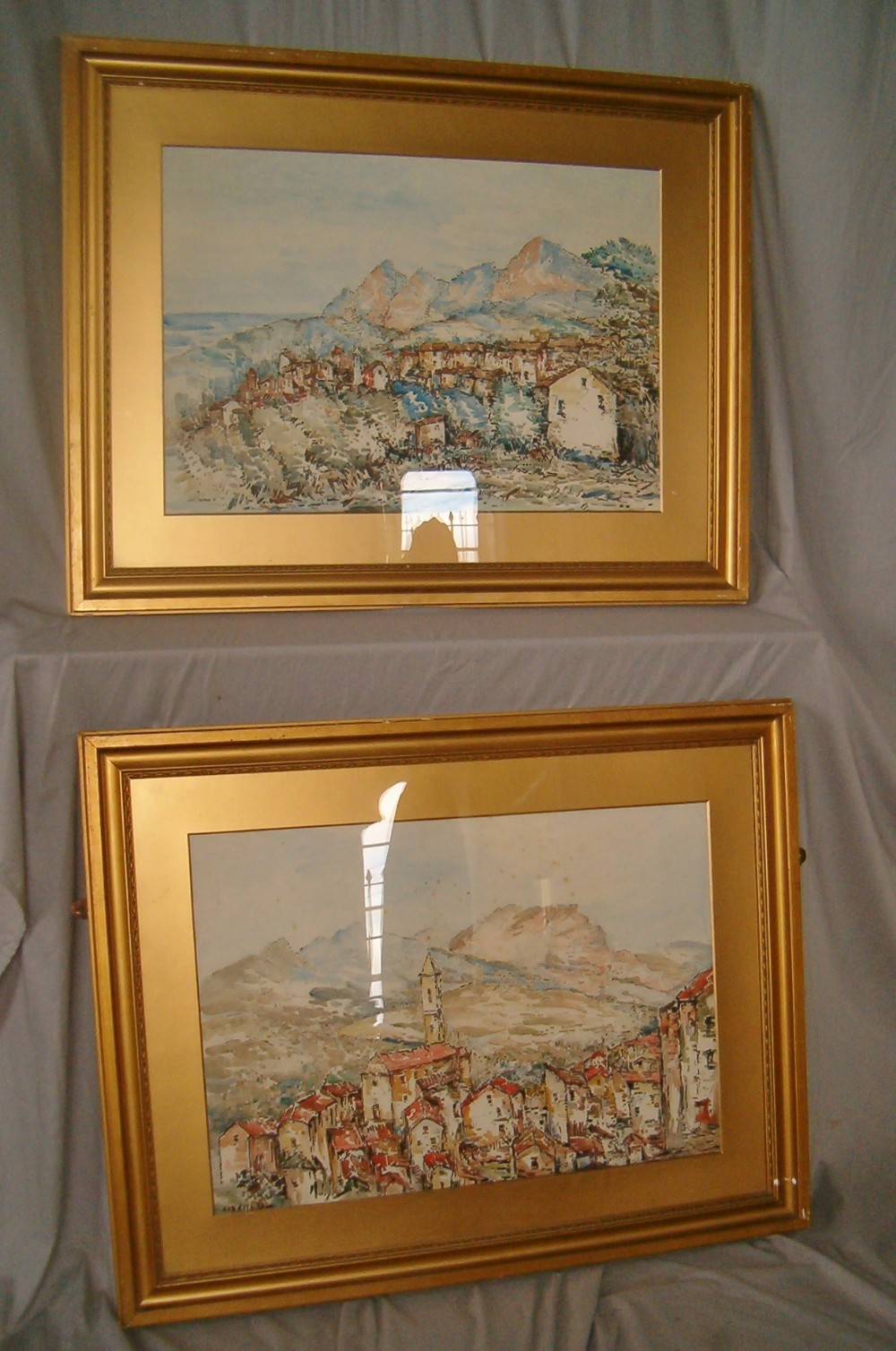 pair of large watercolours by cornish artist