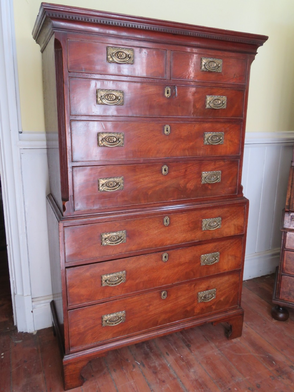 geoiii mahogany oak tallboy chest on chest