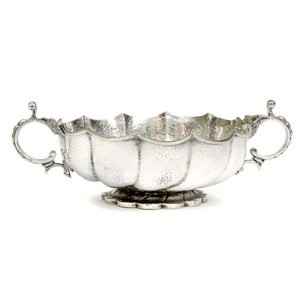 art nouveau turkish style hand beaten silver bowl