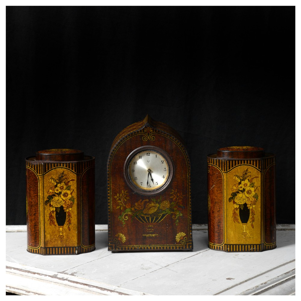 tinplate clock garniture