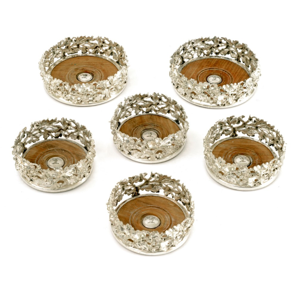 set of 6 elkington co silver plated coasters