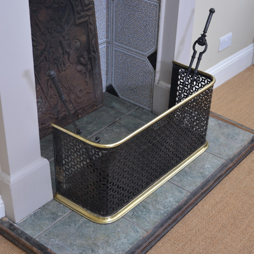 compact brass and pierced steel fire guard fender