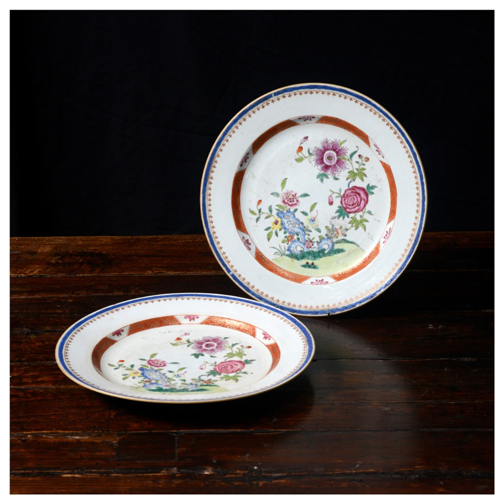a pair of 18th century chinese export dishes