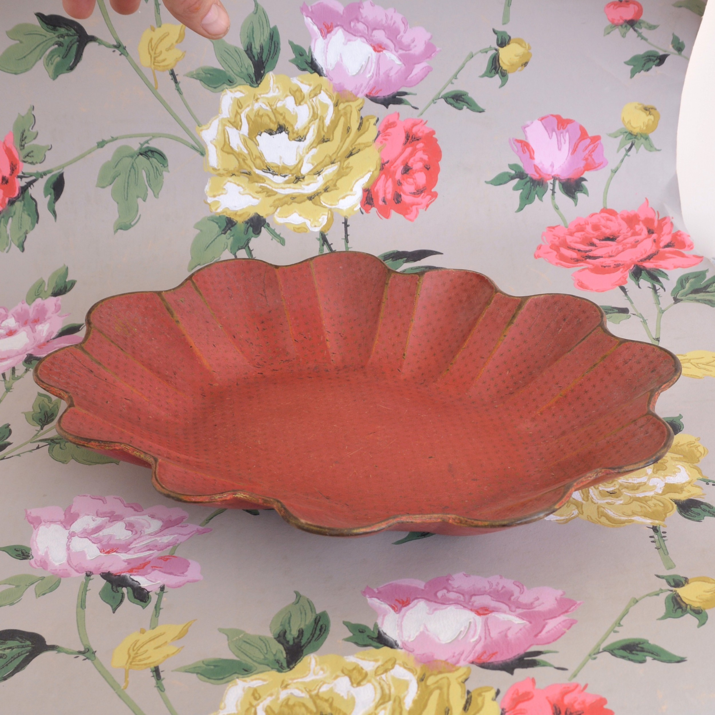 19th century red papiermch bowl