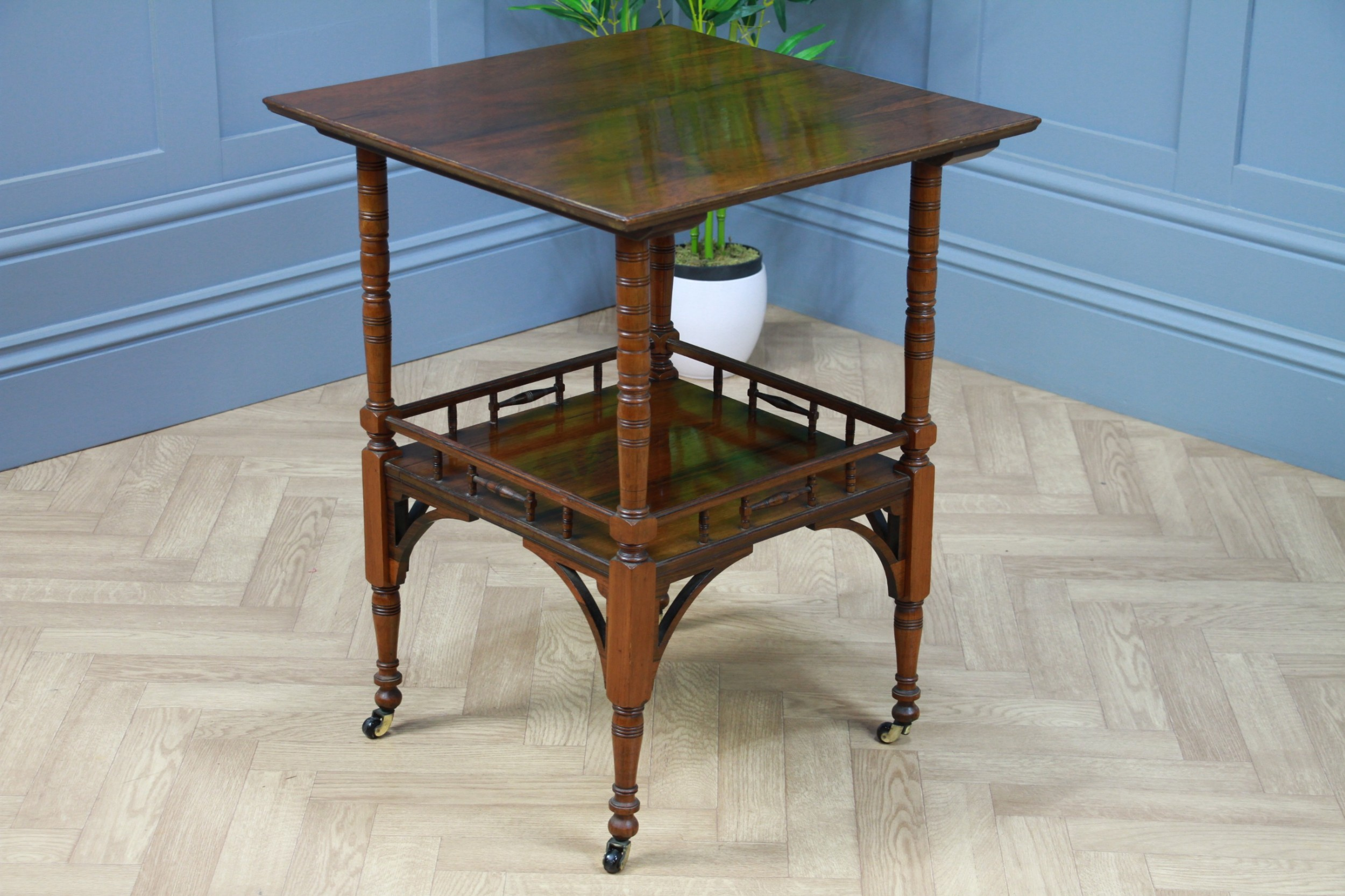 antique edwardian solid rosewood gallery base hall side lamp plant table c1890