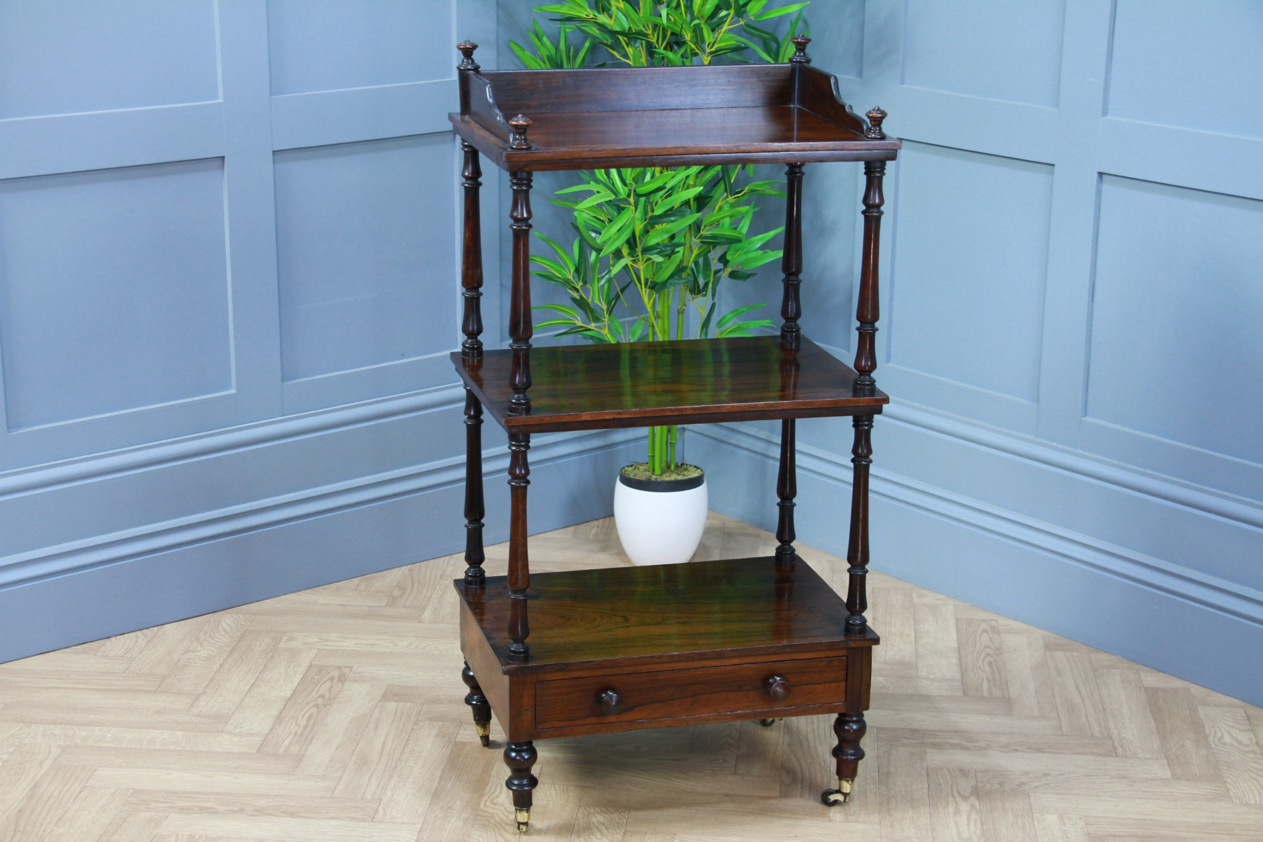 rare antique late georgian rosewood 3 tier what not display shelf with drawer