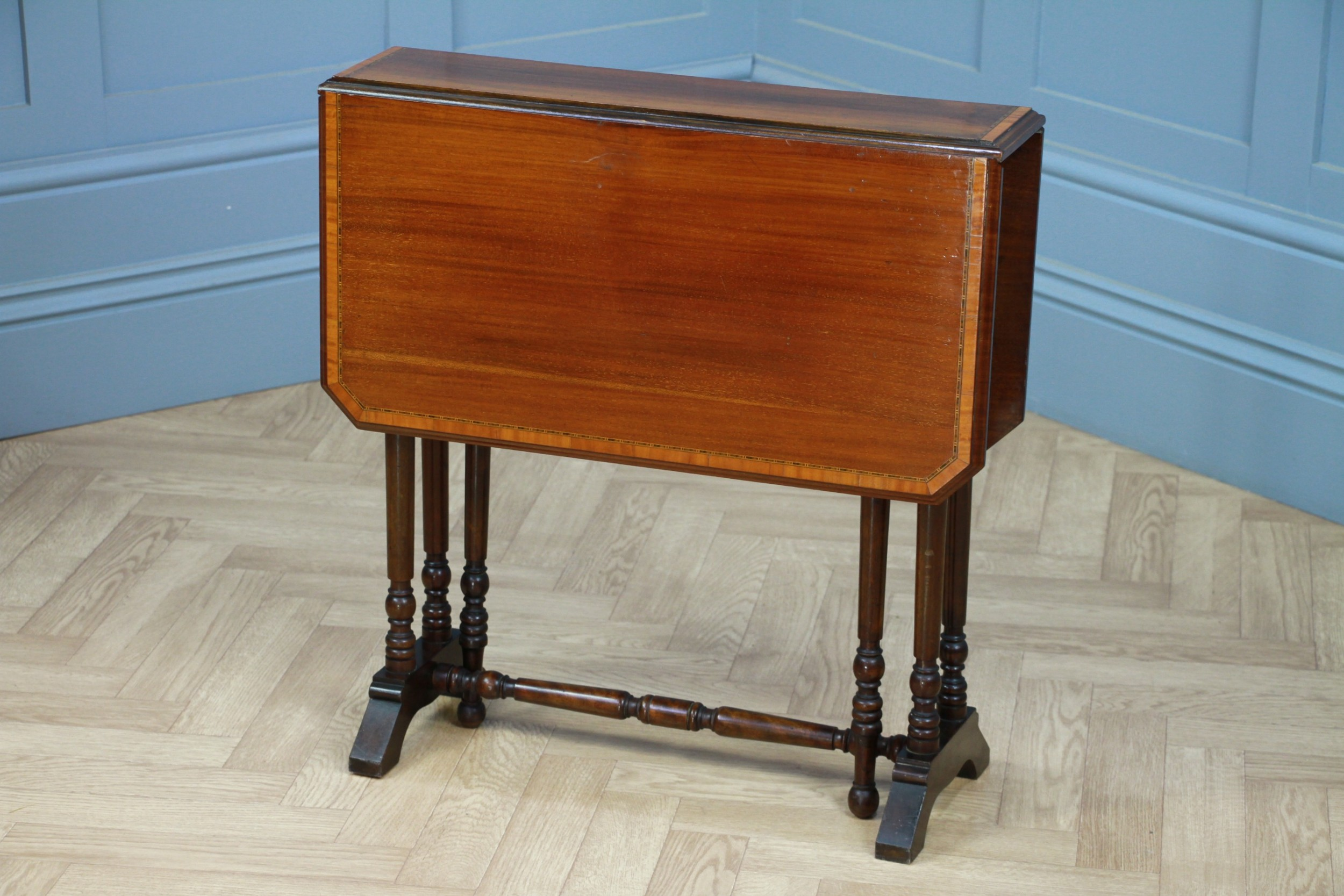 edwardian inlaid solid mahogany small drop leaf sutherland occasional table