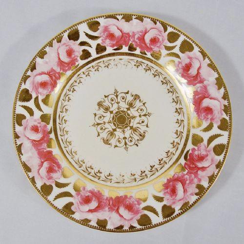 john rose coalport plate hand painted billingsley roses c1825