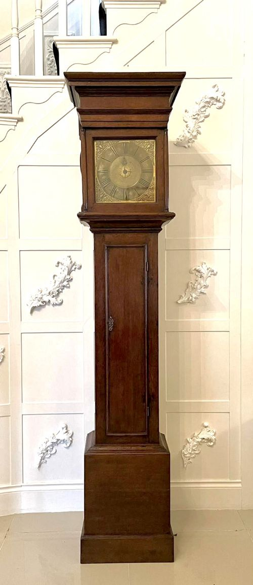 rare early 18th century antique brass face grandfather clock by newman of norwich circa 1730