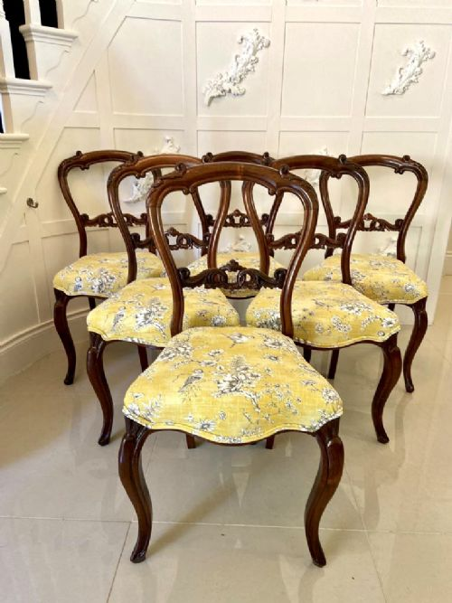 fine set of six victorian carved rosewood dining chairs