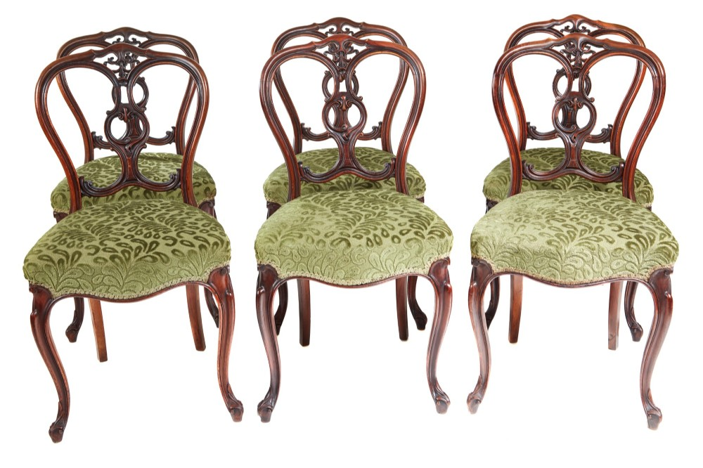 outstanding set of six victorian walnut dining chairs