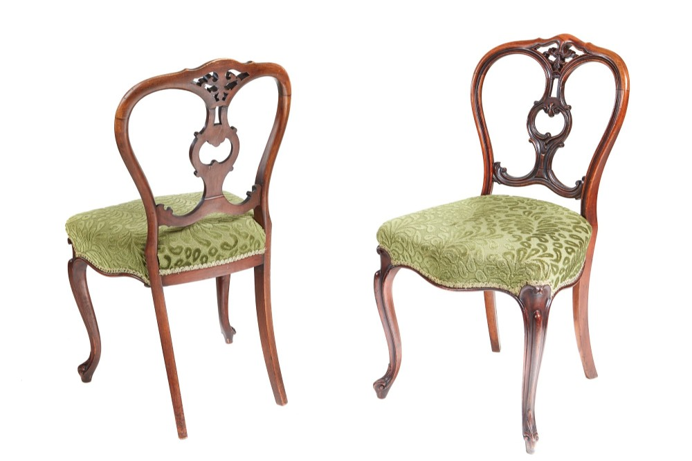 pair of outstanding quality victorian walnut side chairs