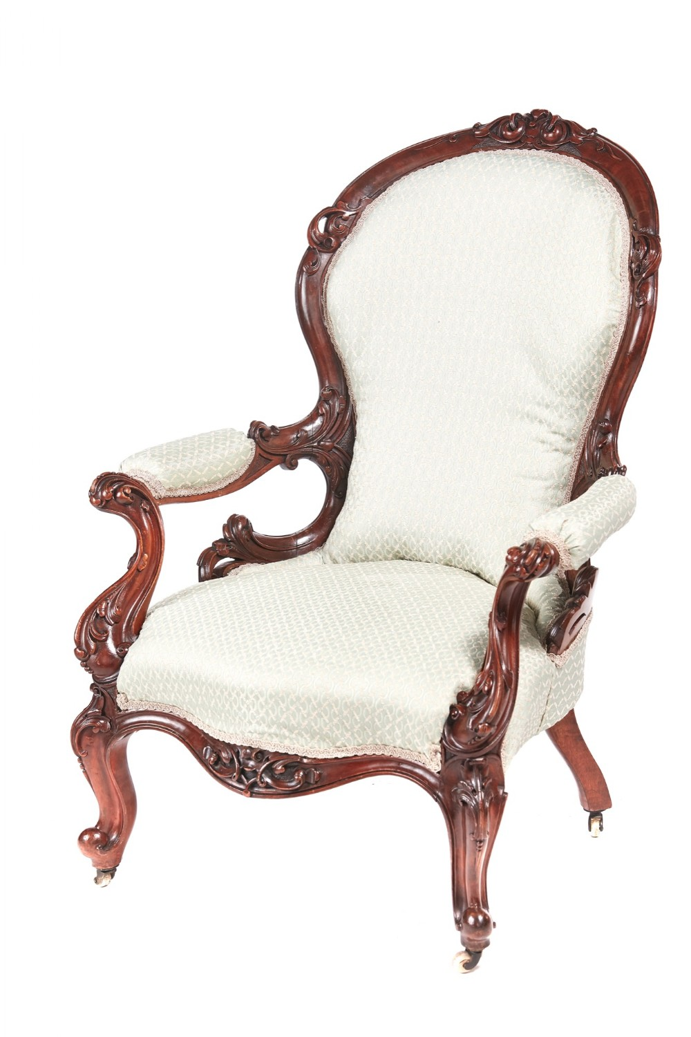 outstanding victorian carved walnut armchair