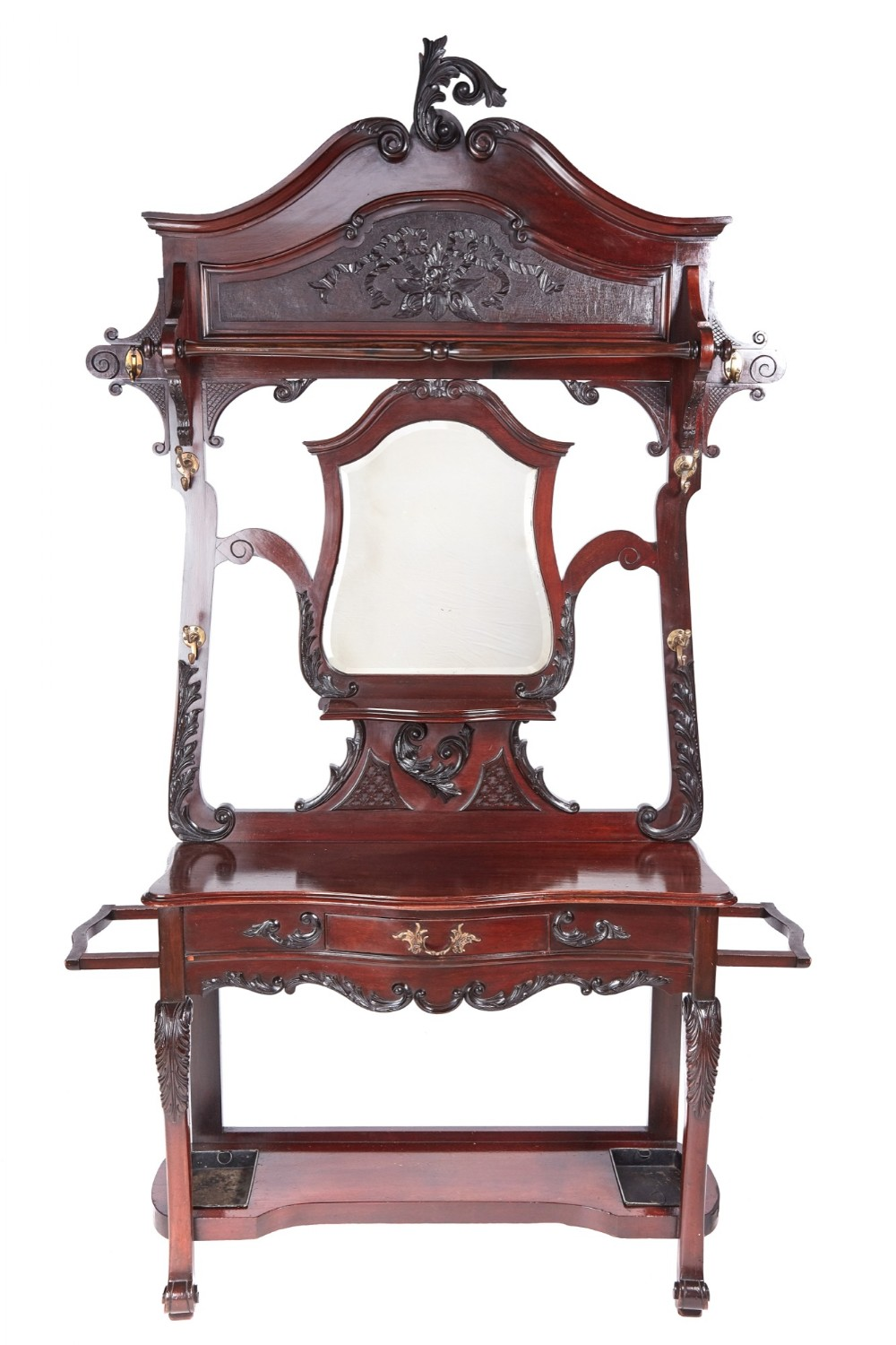 quality victorian carved mahogany hall stand