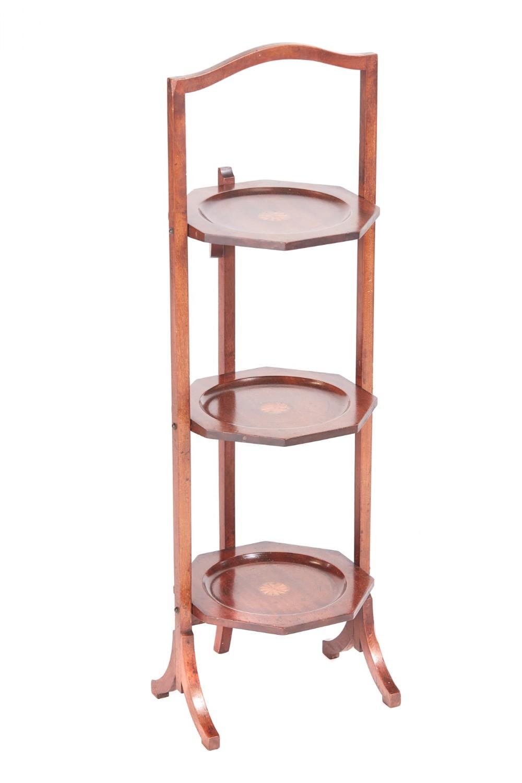 edwardian inlaid mahogany 3 tier cake stand