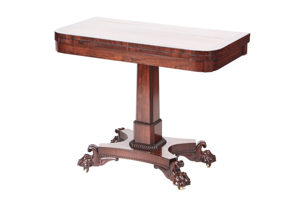 quality william iv rosewood card table