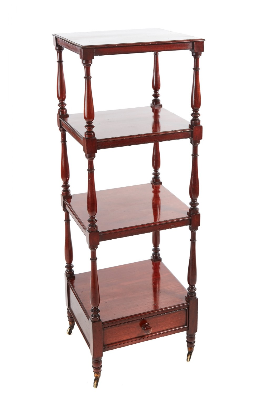quality william iv mahogany freestanding fourtier whatnot