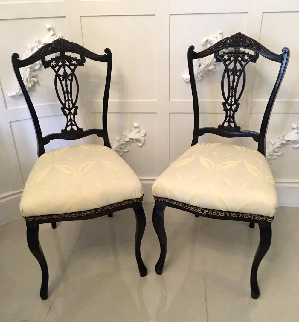 quality pair of antique victorian carved ebonised sidedesk chairs