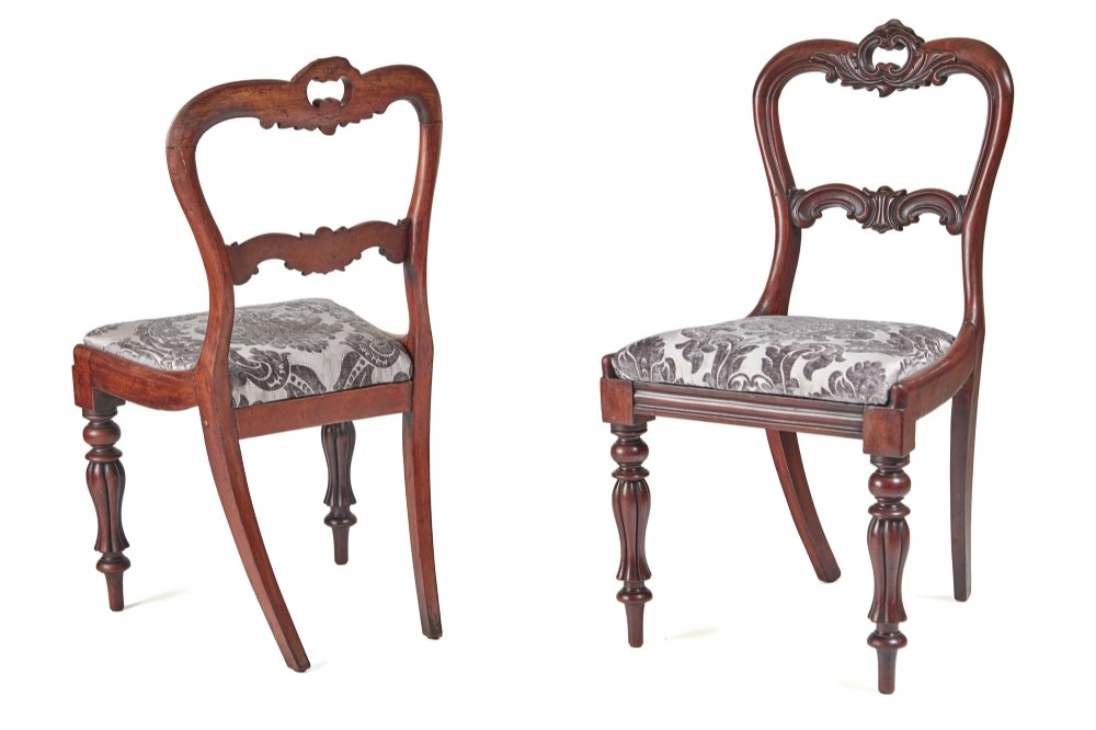 quality pair of william iv carved rosewood sidedesk chairs c1830