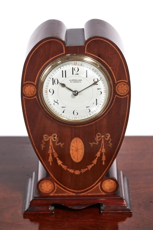 edwardian inlaid mahogany mantel clock695