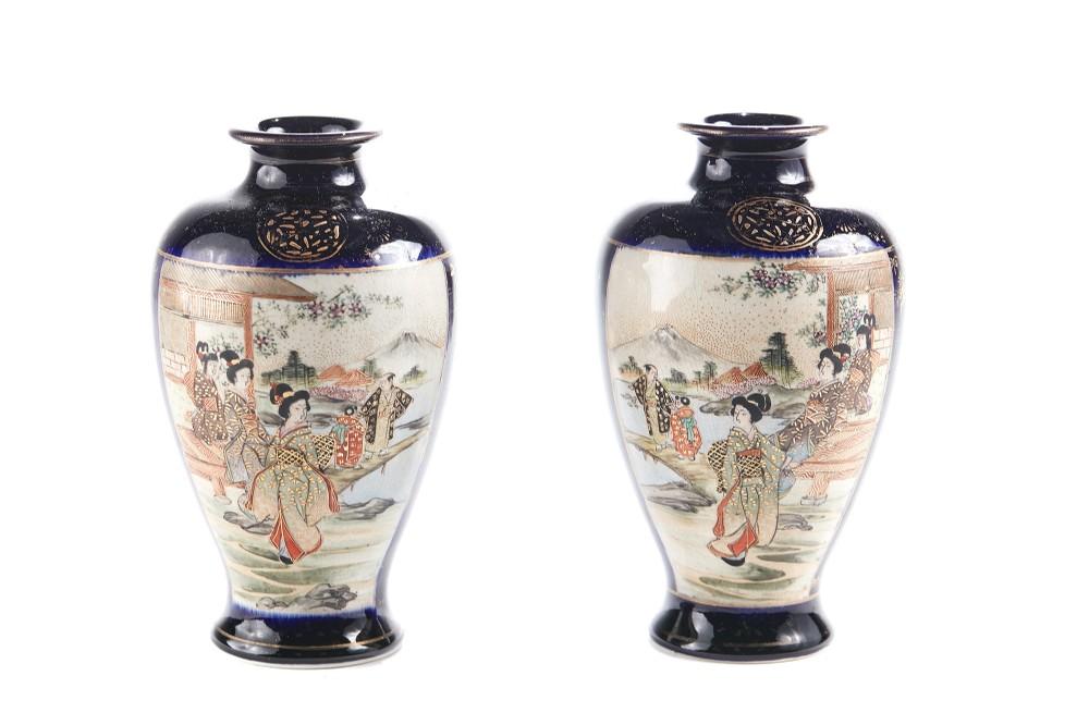 early 20th century pair of satsuma vases