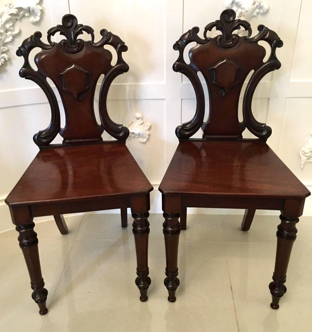 fine pair of antique mahogany william iv hall chair