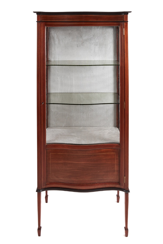 edwardian inlaid mahogany serpentine front display cabinet
