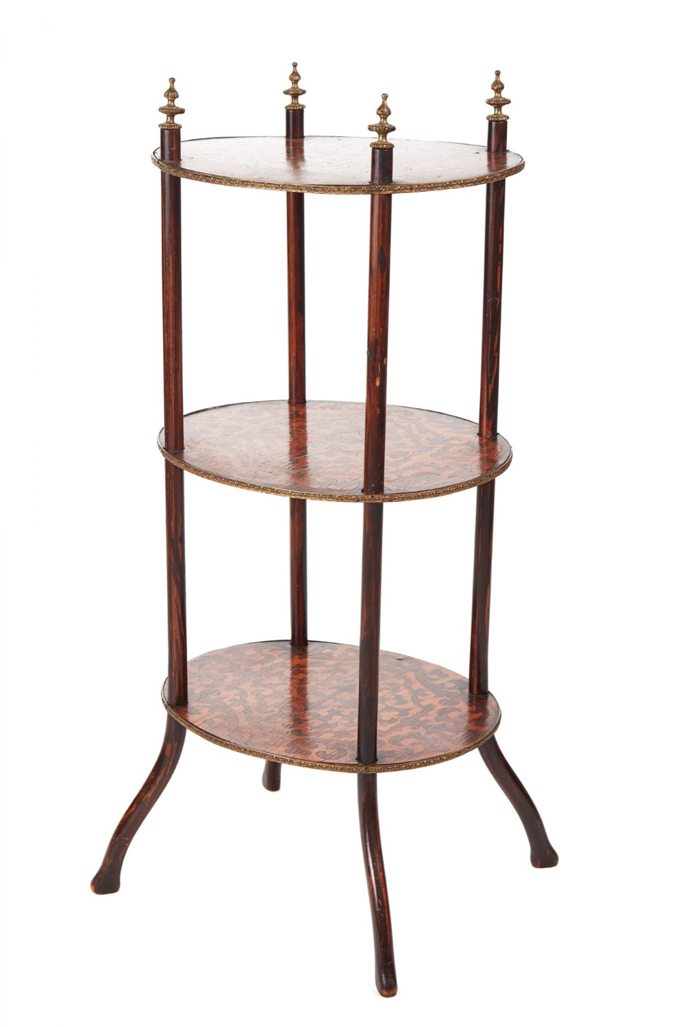 victorian three tier oval inlaid stand c1860